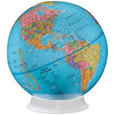Apollo Blue Map White Base Desk Globe