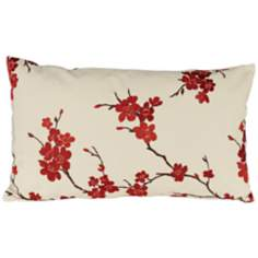 "China Doll 20"" Wide Red Lumbar Pillow."