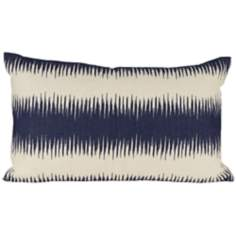 "Shock 20"" Wide Blue and Beige Stripe Lumbar Pillow"