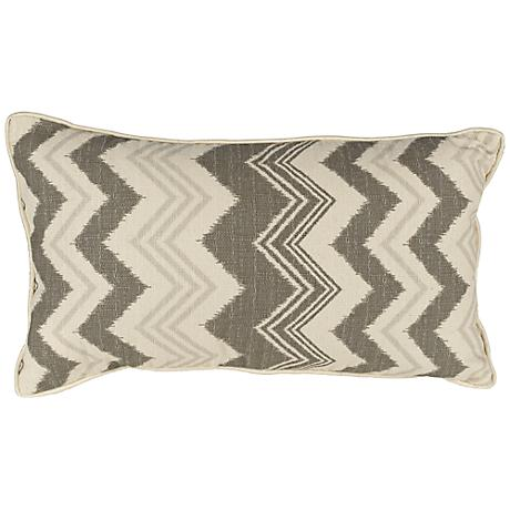 "Weave 20"" Wide Grey and Cream Lumbar Pillow"