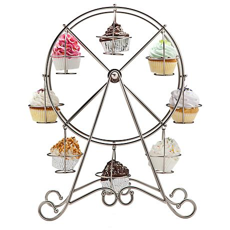 "Godinger Ferris Wheel 18 3/4"" High Silver Cupcake Holder"