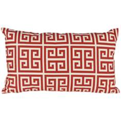 "Riddle 20"" Wide Red Lumbar Pillow"