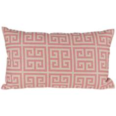 "Riddle 20"" Wide Pink Lumbar Pillow"