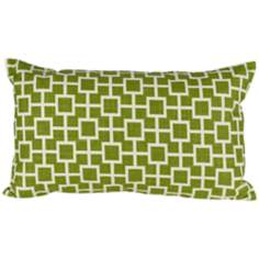 "Cube 20"" Wide Green Lumbar Pillow"