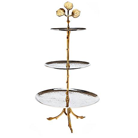 Godinger Leaf Design 3-Tier Brass and Silver Server