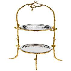 Godinger Leaf 2-Tier Gold and Silver Stand Server