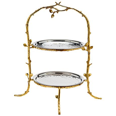 "Godinger Leaf 17"" High 2-Tier Gold and Silver Stand Server"