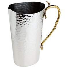 Godinger Leaf Brass and Stainless Steel Pitcher