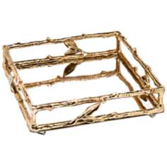 Godinger Leaf 2-Tone Brass and Silver Napkin Holder
