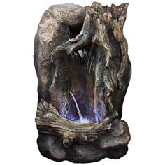 "Tree Trunk 12"" Wide LED Tabletop Indoor - Outdoor Fountain"