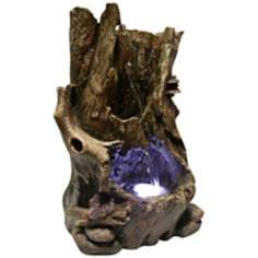 "Tree Trunk 5"" Wide LED Tabletop Indoor - Outdoor Fountain"