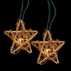 Ten Light Golden Rattan Star  Party Light Set