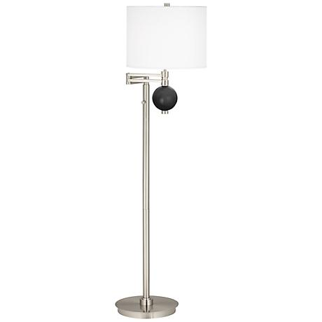 Tricorn Black Niko Swing Arm Floor Lamp