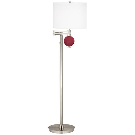 Antique Red Niko Swing Arm Floor Lamp