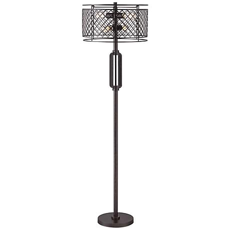 Franklin Iron Works™ Metal Lattice Bronze Floor Lamp