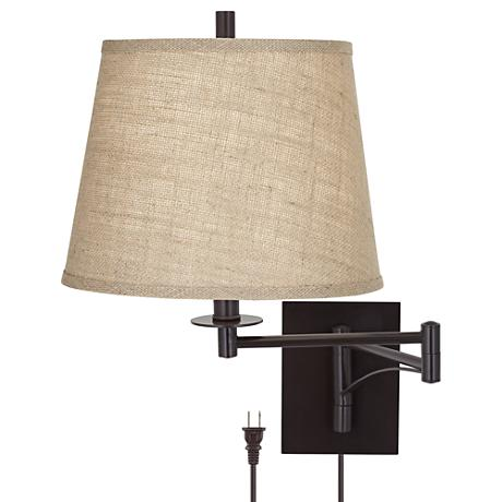 brinly burlap shade brown plug in swing arm wall light 4h013 www. Black Bedroom Furniture Sets. Home Design Ideas