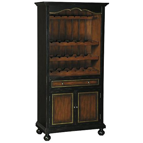 Pulaski Dino Distressed Black Beadboard Wine Cabinet