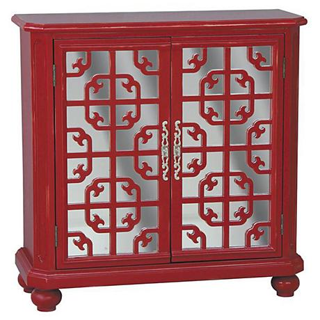 Pulaski Wantabe Red Antique Mirror 2-Door Chest