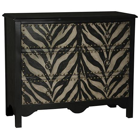 Pampus Rustic Zebra 3-Drawer Accent Chest