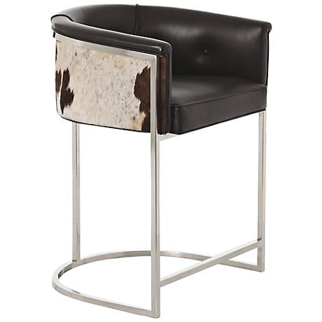 "Arteriors Calvin 25 1/2"" Black and White Leather Barstool"