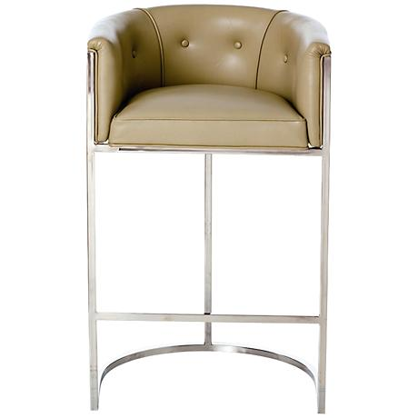 "Arteriors Home Calvin 30"" Taupe Polished Nickel Barstool"