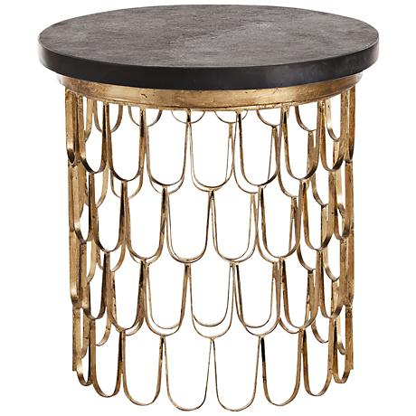 Arteriors Home Orleans Gold Leaf and Marble End Table