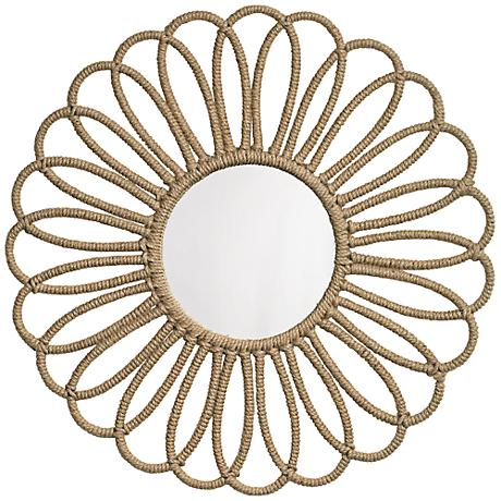 "Jamie Young Large Flower 36"" Round Jute Wall Mirror"