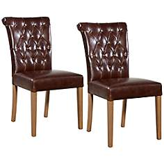 Holbrook Tufted Leather Dining Chair Set of 2