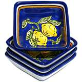 Le Souk Ceramique Citronique Set of 4 Square Sauce Dishes