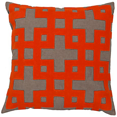 "Surya 18"" Square Olive Decorative Pillow"