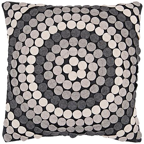 "Surya 18"" Square Circle Design Gray Decorative Pillow"