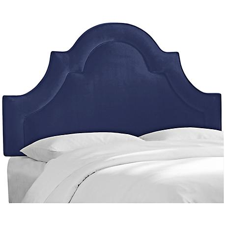 Velvet Navy Arched Border Headboards