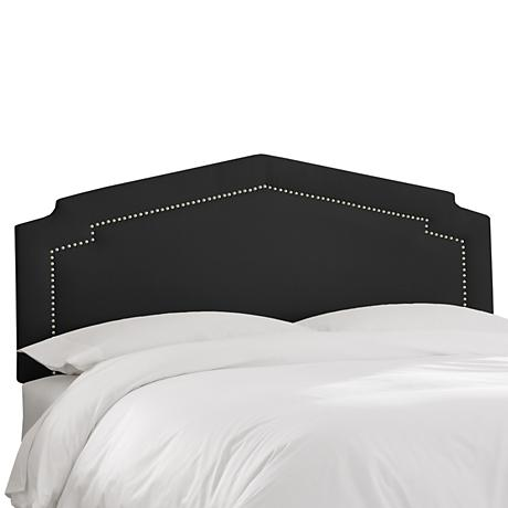 Shantung Black Inset Nail Button Headboard