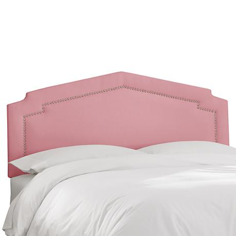 Shantung Woodrose Inset Nail Button Headboard