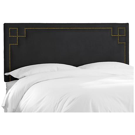 Velvet Black Key Nail Button Headboard