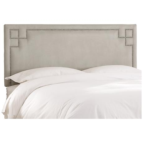 Velvet Gray Key Nail Button Headboard