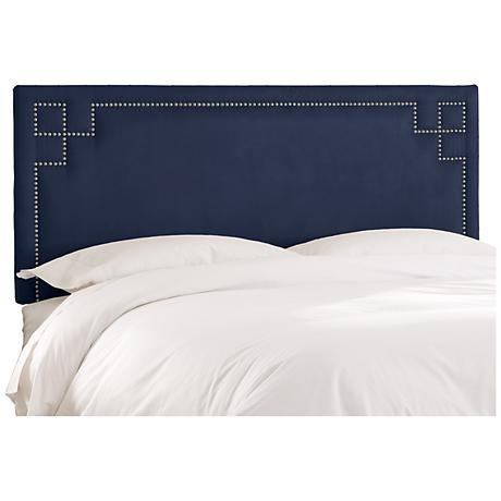 Velvet Navy Key Nail Button Headboard
