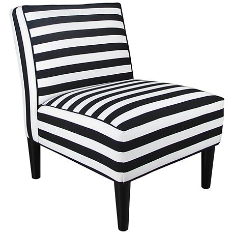 Horizontal Stripe Black and White Armless Accent Chair