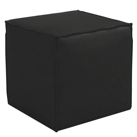 French Seam Linen Black Square Ottoman
