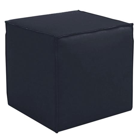 French Seam Linen Navy Square Ottoman