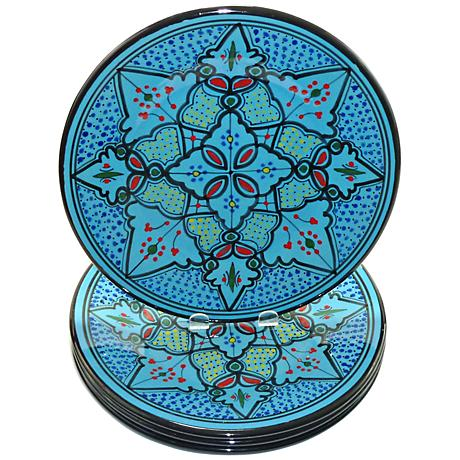 Le Souk Ceramique Sabrine Design Set of 4 Dinner Plates