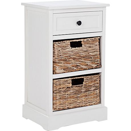 Reynolds White 1-Drawer Wood Side Table
