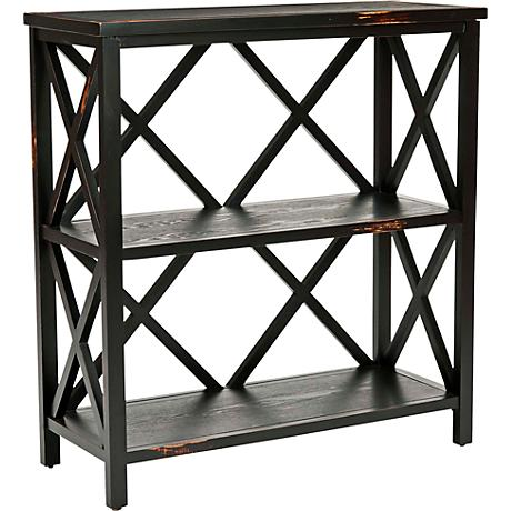 Delaina Distressed Black X-shaped Back Etagere