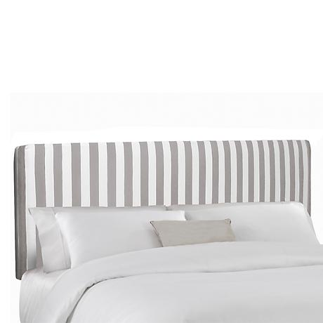 Canopy Stripe Storm and Twill Upholstered Headboard