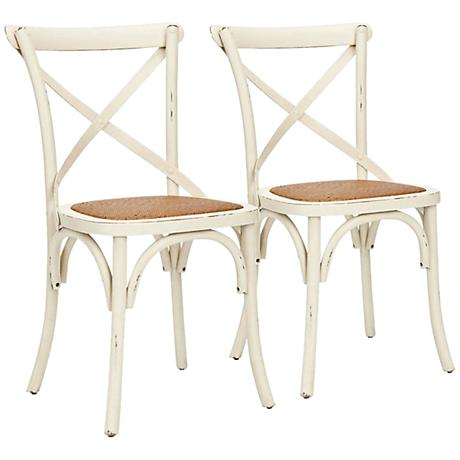 Sarton Off-White Back Side Chairs Set of 2