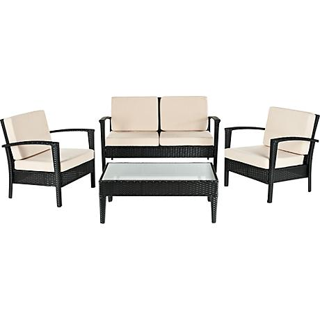 Piscataway 4-Piece Cream Outdoor Conversation Set