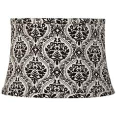 Black and White Scroll Drum Lamp Shade 10x12x8 (Spider)