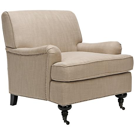 Mendolez Nail Head Gold Upholstered Club Chair