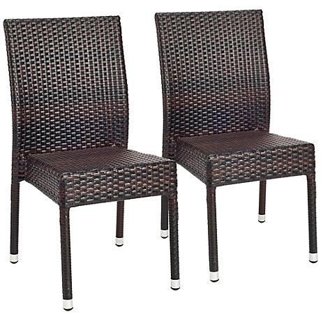 Shaley Tiger Stripe Pattern Wicker Side Chairs Set of 2