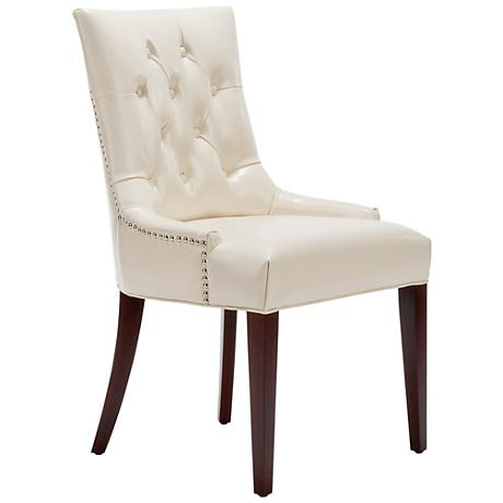 Maria Cream Bycast Leather Upholstered Chair